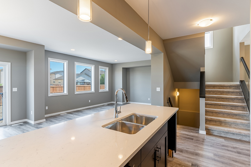 6. Kitchen Eating Area and Great Room- 7 Fieldhouse The Avalon DG 15 A Broadview Homes Winnipeg