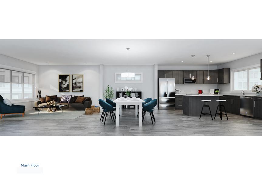 1. Pan Shot Rendering - Corner Kitchen The Newport Townhome Broadview Homes Winnipeg