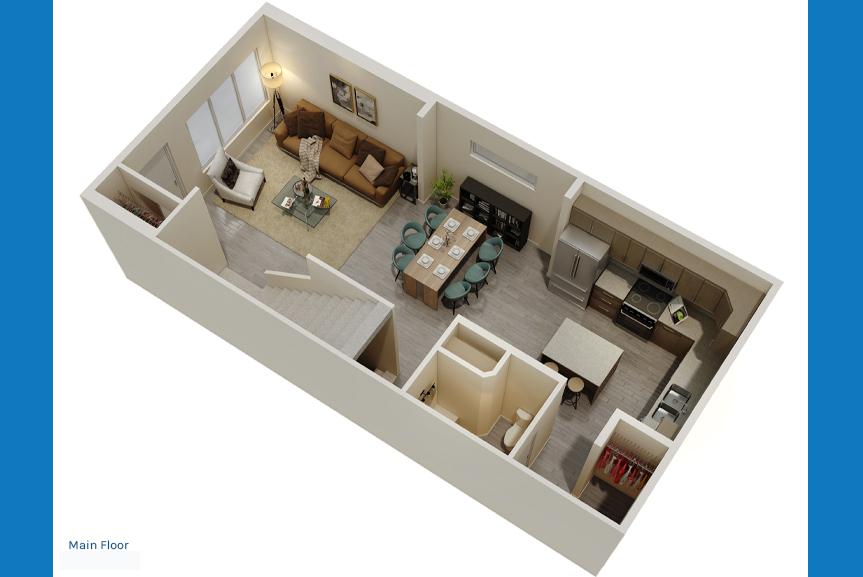 2. Main Floor Rendering - Corner Kitchen The Newport Townhome Broadview Homes Winnipeg
