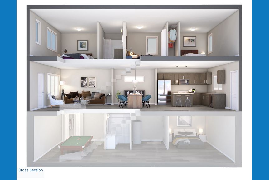 4. Cross Section Rendering - Corner Kitchen The Newport Townhome Broadview Homes Winnipeg