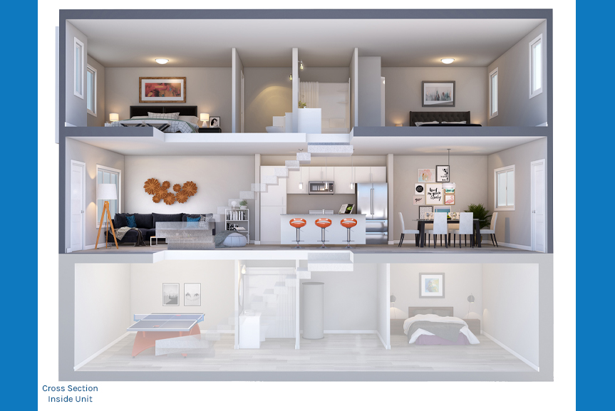 4. Cross Section Rendering - Interior Unit The Newport Townhome Broadview Homes Winnipeg