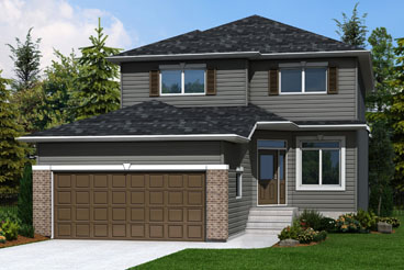 DG 16 A The Monticello Elevation with Vinyl Siding and Brick Broadview Homes 2-Storey