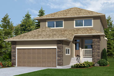 DG 16 F The Monticello Elevation with Stucco and Cultured Stone Broadview Homes 2-Storey