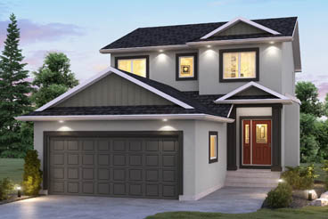 DG 18 C The Cottonwood Elevation with Stucco and Smart Start Broadview Homes 2-Storey
