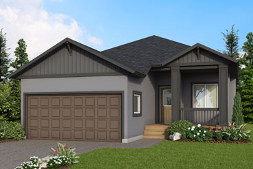DG 21 E The Dalton Elevation with Stucco, Smart Start and Front Porch Broadview Homes Bungalow