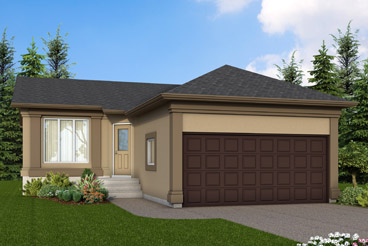 DG 24 A The Seville Elevation with Stucco Broadview Homes Bungalow