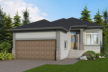 DG 28 D The Majestic Elevation with Vinyl Siding and Brick Broadview Homes Bungalow