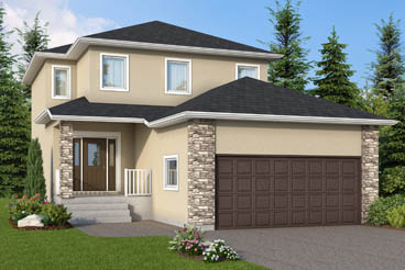 DG 12 C The Daintree Elevation with Stucco and Cultured Stone Broadview Homes 2-Storey