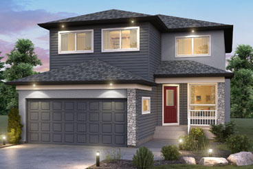 DG 27 C The Ellington Elevation with Stucco, Vinyl Siding, Cultured Stone and Optional Bonus Room Broadview Homes 2-Storey