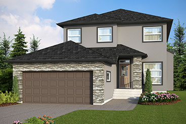 DG 46 A The Highcrest Elevation with Stucco and Cultured Stone Broadview Homes 2-Storey
