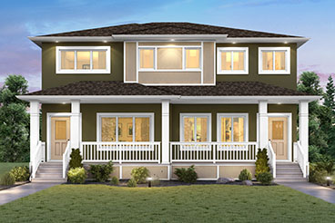 RG 10 C The Remmington Elevation with Stucco and Front Porch Broadview Homes Duplex