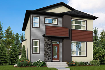 RG 101 The Santiago Elevation with Vinyl Siding, Cultured Stone and Stucco Broadview Homes 2-Storey