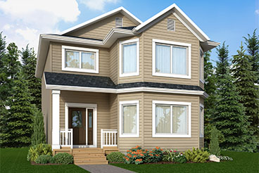 RG 103 The San Marino Elevation with Vinyl Siding, Smart Start Trim and Front Porch Broadview Homes 2-Storey
