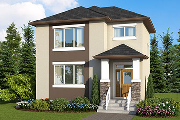 RG 105 The Mendoza Elevation with Stucco and Cultured Stone Broadview Homes 2-Storey