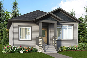 RG 61 A The Balsam Elevation with Vinyl Siding and Cultured Stone Broadview Homes Bungalow