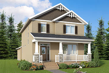 RG 70 A The Willowcrest Elevation with Vinyl Siding, Cultured Stone, Smart Start Trim and Front Porch Broadview Homes 2-Storey